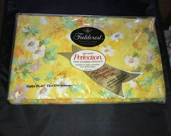Vintage Fieldcrest Chanson yellow floral twin flat sheet original package no iron permanent press