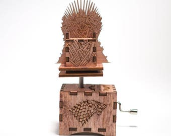 Game of Thrones Music Box - Iron Throne / Main Theme - Laser cut and laser engraved wood music box in mahogany. Perfect gift or collectible