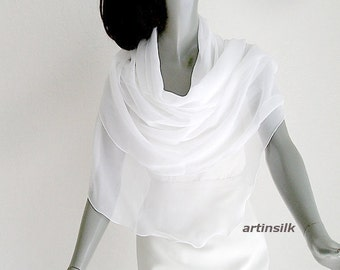 Pure White Shawl Wedding Sheer Chiffon Coverup Optic White Bridal, Evening Formal Natural Silk Stole Petite S XS M L, Artinsilk.