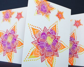 Diya Rangoli Notecards, set of 4