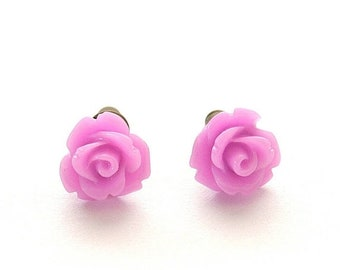 20%OFF SALE Tiny Orchid Rose Earrings, Under 5 Dollars, Bridesmaids Gifts, Purple Rose Earrings