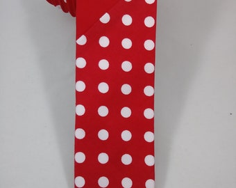 Red & Red w/ White Polka Dots PatternSlash Handmade Necktie