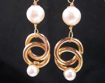 Wedding Earrings, Upcycled Vintage, White,Pearl, Gold, Pierced, Reclaimed, Jennifer Jones, Under 35, Coupon Code, OOAK, Double Ring Ceremony