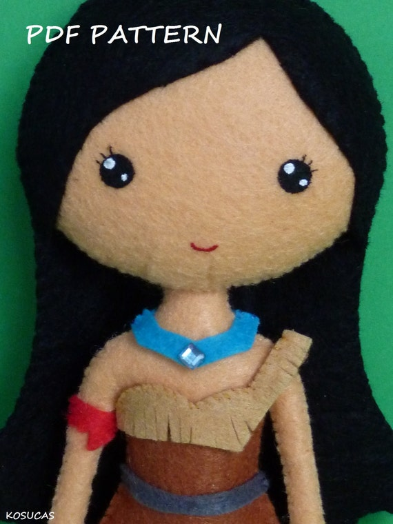 PDF sewing pattern to make a felt doll inspired in Pocahontas.