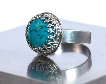 Turquoise Ring, Oxidized Sterling Silver, US Size 7.5, Handmade Ring, Ready to Ship, Blue Ring, 925 Sterling Silver