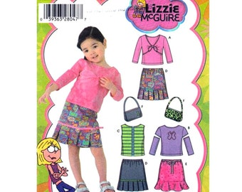 Girls Knit Tops Skirts Purse Pattern Simplicity 4563 Lizzie McGuire Toddler Size 1/2 to 2 Sewing Pattern UNCUT
