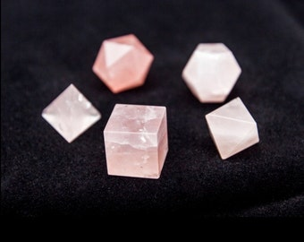 Rose Quartz Sacred Geometry Set/ Rose Quartz Platonic Solids