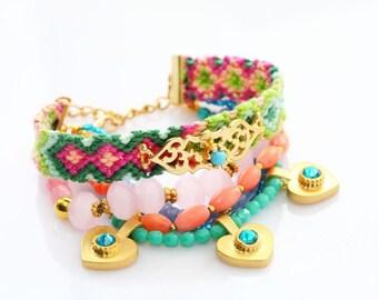 Friendship Bracelet Set,Beadwork,Gift for her,Swarovski Gold Heart Charm Pink Quartz Bohemian Indian Boho Chic Gypsy Hippie Multiple Strands