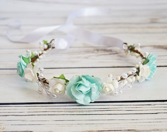 Handcrafted Mint and White Pearl Flower Crown - Mint Wedding Hair Wreath - Mint Bridal Flower Crown - Flower Girl Crown - Toddler Rose Hair