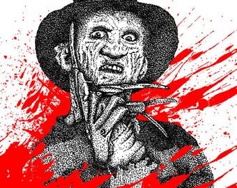 Hand Drawn Freddy Krueger inspired fan art Print