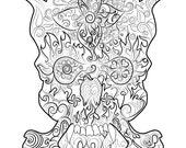 Skull Drawing  Instant do...