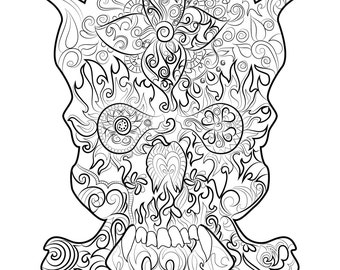 Skull Drawing  Instant download to print and colour