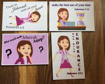 Postcard Set - 4 Postcards of Scriptures and an Inspirational Thought