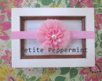 Pink Baby Headband, Baby flower headband, Newborn Headband Toddler Headband, Pink Baby Flower Headband, Pink Baby Hair Bow