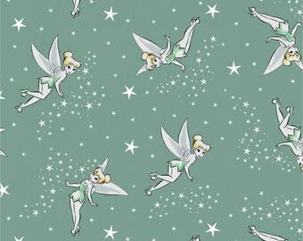 Camelot Fabrics - Licensed Disney - Tinker Bell Pixie Dust - Sage - Fabric by the Yard 85390104-2