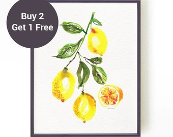 Lemon print Fruit painting, Lemon Watercolor Painting, Lemon Poster, Fruit Watercolor, Kitchen Wall Art, Yellow Wall Art, Yellow Home Decor
