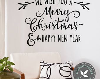 We Wish You a Merry Christmas Happy New Year Holiday Wall Vinyl Decal Home Decor Sticker