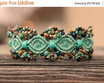 SALE Micro-Macrame Beaded Cuff Bracelet - Turquoise Blue Picasso