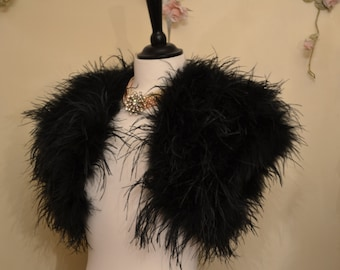 OPULENT OSTRICH FEATHER Wrap Shrug Jacket Bolero  - New Arrival - Available in Ivory or Black