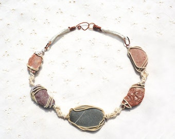 Sea Pebble Necklace. Pink and Gray Pebbles Wrapped in Copper Wire. Boho Rustic Natural Stone Necklace. Handmade in Israel. Free Shipping