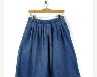 ON SALE Vintage  Blue Denim  Flare  Skirt from 1980's/W27