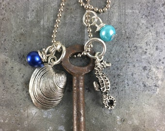 Skeleton Key Necklace with Clam and Seahorse Charms