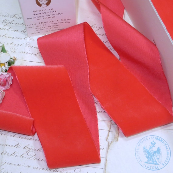 2 CORAL TOMATO VELVET Ribbon 17 Colors To Choose Vintage