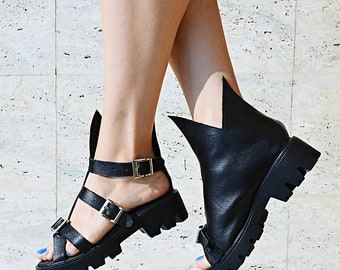 Leather Shoes, Ankle Boots TBT15, Platform Boots, Sandals by Teyxo, Pumps, Leather Boots