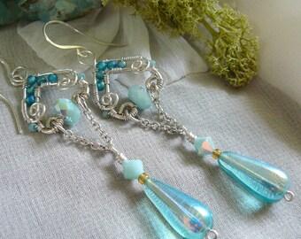 Mint Alabaster Earrings ~ Teardrop Dangle Earrings ~ Wire Wrapped Earrings ~ Long Wire Earrings ~ Aqua Beaded Earrings ~ Swarovski Earrings