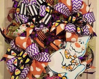 Halloween Candy Corn Ghost Wreath