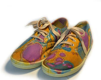 Vintage Painted Sneakers Marbleized Size 6