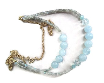 Aquamarine and Labradorite on Goldplated Chain Necklace ./. Blue Stone Necklace ./. Goldplated and Blue Stones ./. Made in Sweden