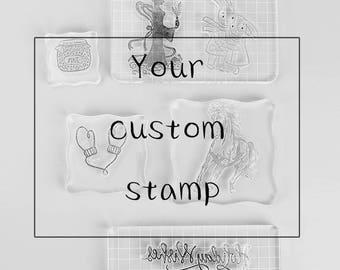 Custom acrylic stamp, company logo stamp, Personalized stamp, Custom acrylic mounted stamp, transparent stamp