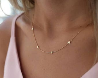 14K Gold Hearts Necklace/Gold Necklace Available in 14k Gold, White Gold or Rose Gold