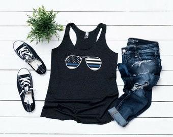 Thin Blue Line Shirt - Police Officer Shirt - Blue Lives Matter - Police Wife - Thin Blue Line Flag - Tank Top Women's Racerback Tank