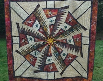 """Completed quilt 77 x 77 """"Weathered Windmill"""""""