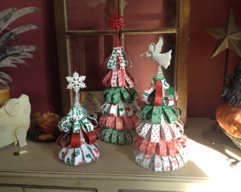 Craftpaper Trees, Holiday, Christmas, Winter Wedding Centerpiece, Home Decor, Shower, Tablescape, Red Green and White