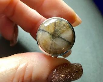 CHIASTOLITH oder Andalusit Ring Größe 9 set in 925 Sterling Silber (sagte zu helfen, Sie zu Hause auf der Erde zu fühlen) b7