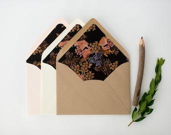 zoe floral lined envelopes / envelope liner (sets of 10)  // romantic floral black dark fall autumn winter envelope liners lined envelopes