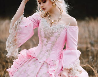 Sale- In Stock New Color!Pink/Champagne Marie Antoinette Upscale Victorian Wedding Costume Gown with Hat Medium