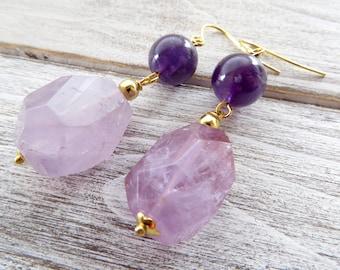 Purple amethyst earrings, gemstone earrings, dangle earrings, raw stone jewelry, contemporary jewelry, wedding jewelry, fashion jewelry