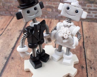 Robot Wedding Cake Topper READY TO SHIP Cute Bots Classic Top Hat Tux and Pearls (4.5  inches)