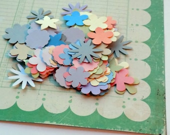50 Paper Flower Die Cuts Various 1 Inch Flower Paper Punches Pastel Colors