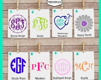 Monogram Car Decal - Monogram Decal - YETI Decal - Monogram Vinyl Decal - Monogram Sticker - Circle Monogram Decal - Fancy Monogram - Decal