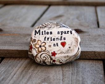 Best friend gift | Miles apart friends at heart | inspirational friendship gift, friend moving away gift, friendship garden rock