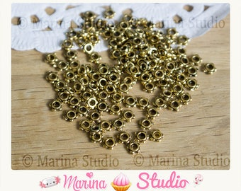 20 pearls gold plated / antique gold pearls 4mm spacer fleurr