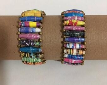 Multi-colored Recycled Paper Bead Stretch Bracelet, Handmade in Uganda
