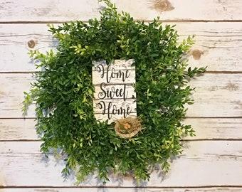 Farmhouse Wreath,Front Door Wreath,Green Wreath,Home Sweet Home Wreath,Artificial Wreath,Home Decor
