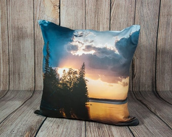 Lake Sunset Pillow Cover, Blue, Accent Cushion Case, Cottage Chic Decor, Cabin, Lake House, Handmade in Canada, Cabin Theme Throw Pillows