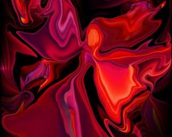 Energy Art Angel, Chakra Abstract Art, Wall Decor, Red Print